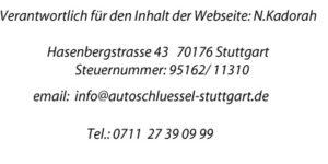 Impressum Schlüsseldienst Stuttgart Car Keys
